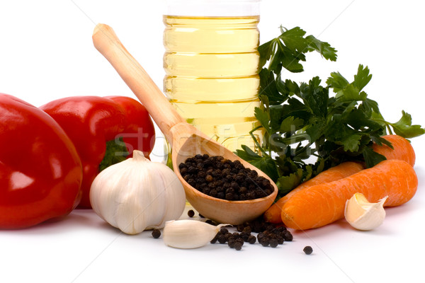 vegetables, pepper and oil closeup Stock photo © marylooo