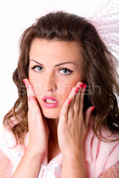 девушки рук лице портрет смешные изолированный Сток-фото © marylooo