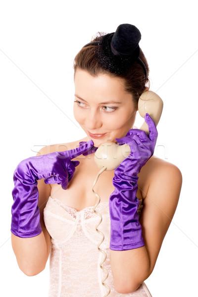 Vrouw korset weinig hoed praten telefoon Stockfoto © marylooo