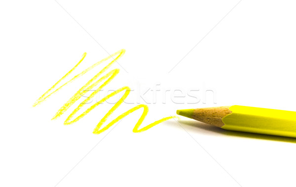 Photo stock: Jaune · zigzag · crayon · papier · enfant