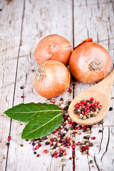 fresh onions, bay leaves and peppercorns  Stock photo © marylooo