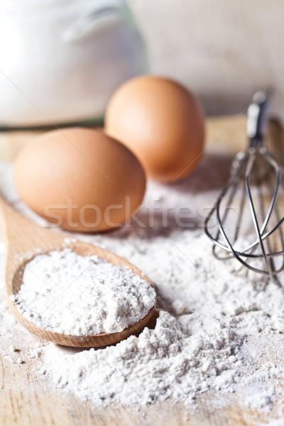 flour, eggs and kitchen utensil  Stock photo © marylooo