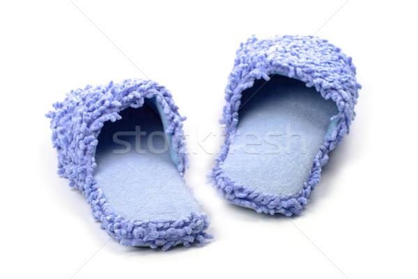 Niebieski kapcie odizolowany biały spać kąpieli Zdjęcia stock © marylooo
