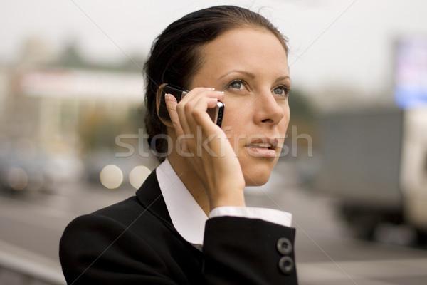 Mujer de negocios hablar teléfono móvil bastante negocios oficina Foto stock © marylooo