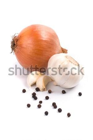 Soğan sarımsak karabiber siyah bitki beyaz Stok fotoğraf © marylooo