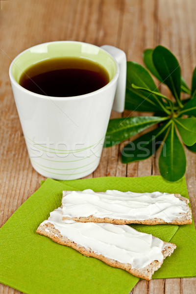 cup of tea and crackers with cream cheese  Stock photo © marylooo
