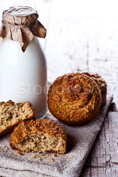 bottle of fresh milk and fresh baked bread  Stock photo © marylooo
