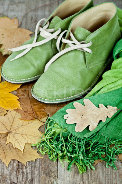зеленый кожа сапогах шарф желтый листьев Сток-фото © marylooo