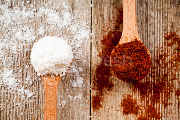 ground red pepper and cooking salt in wooden spoons  Stock photo © marylooo