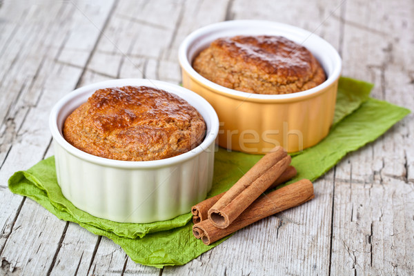 two fresh baked buns and cinnamon sticks Stock photo © marylooo