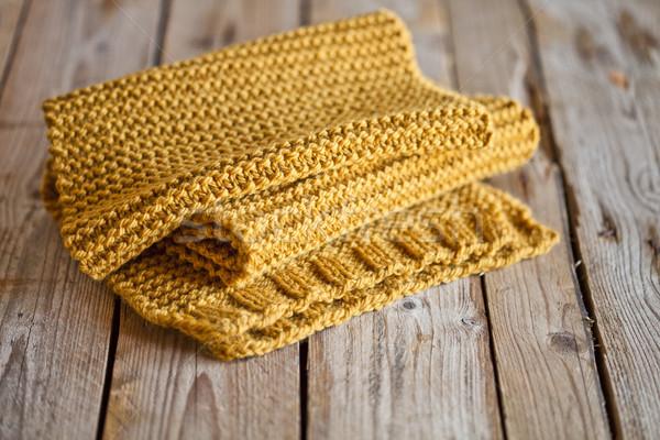 трикотажный желтый шарф фон оранжевый Сток-фото © marylooo