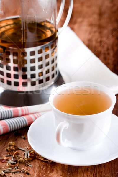 french press and cup of fresh herbal tea  Stock photo © marylooo