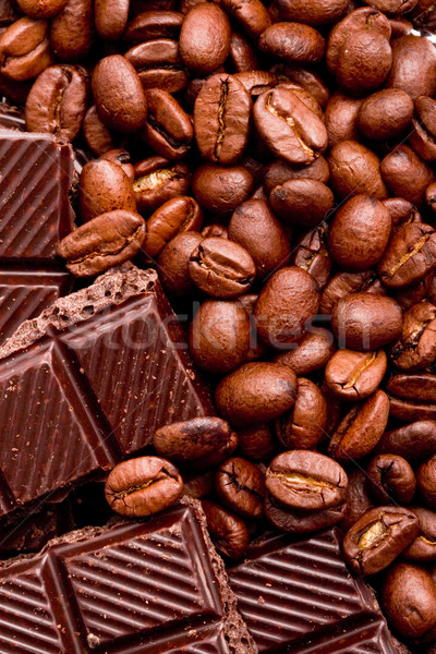 Grains de café noir chocolat café cuisine plaque Photo stock © marylooo