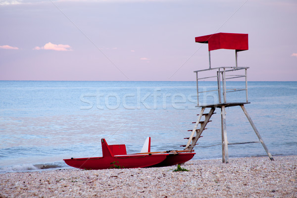 Opuszczony ratownik wieża łodzi krajobraz Zdjęcia stock © marylooo