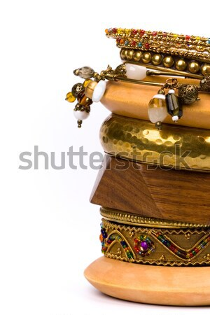 metal and wooden bracelets Stock photo © marylooo