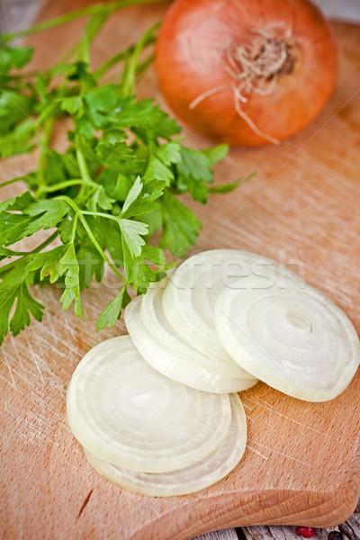fresh onions and parsley  Stock photo © marylooo