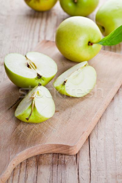 新鮮な 緑 リンゴ 木板 木材 ストックフォト © marylooo