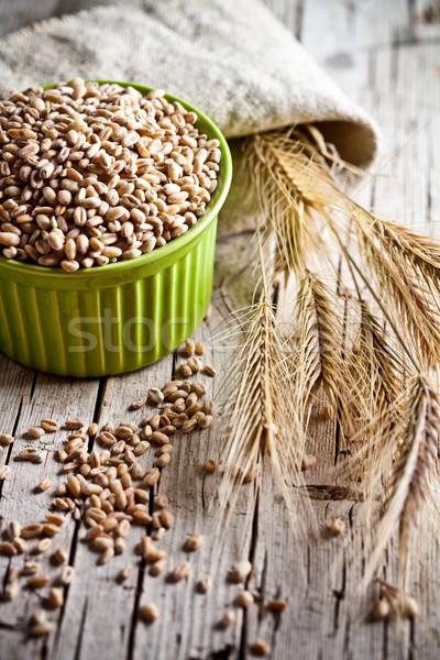 小麦 穀物 ボウル 耳 クローズアップ 素朴な ストックフォト © marylooo