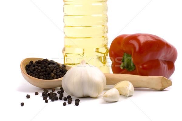 Piros paprika fokhagyma feketebors olaj közelkép csoport Stock fotó © marylooo