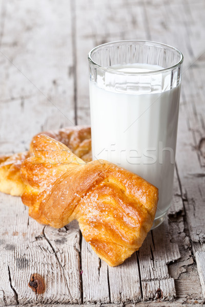 glass of milk and two fresh baked buns  Stock photo © marylooo