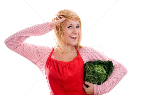 Foto stock: Bela · mulher · fresco · repolho · jovem · branco · mulheres