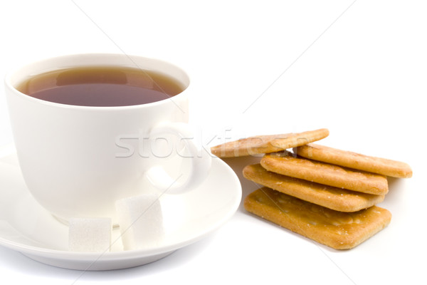Tasse thé sucre cookies blanche Photo stock © marylooo