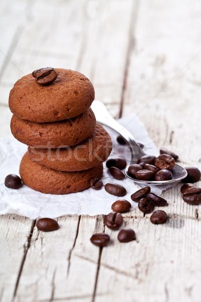 Csokoládé sütik kávé kanál rusztikus fából készült Stock fotó © marylooo
