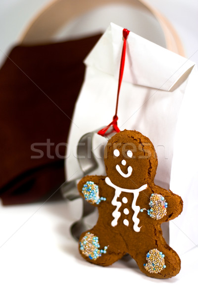gingerbread man and gift bag  Stock photo © marylooo