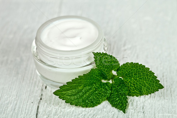 Vidrio jar hoja verde blanco Foto stock © marylooo