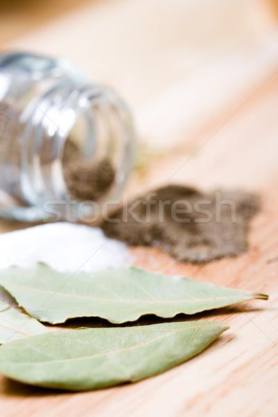 bay leaves, salt and black pepper Stock photo © marylooo