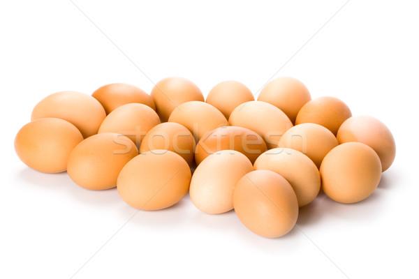 Veinte marrón huevos aislado blanco alimentos Foto stock © marylooo