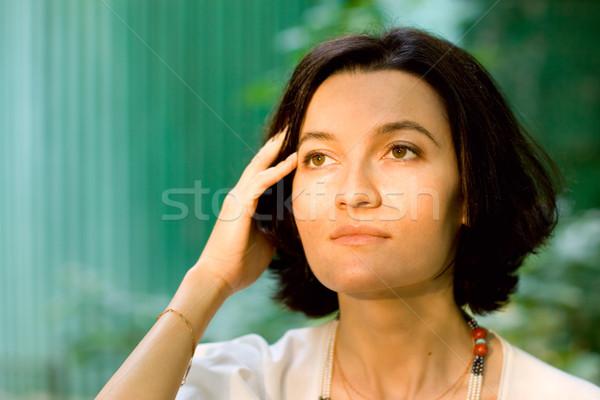 brunet woman in white Stock photo © marylooo