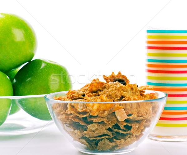cornflakes, glass of milk and green apples Stock photo © marylooo