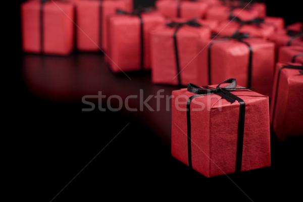 赤 ギフトボックス 多くの 黒 紙 愛 ストックフォト © marylooo