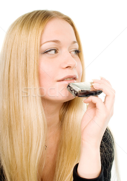 blond woman with a harmonica Stock photo © marylooo