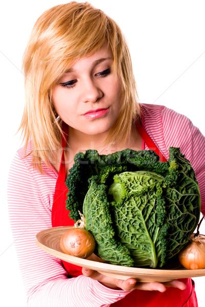 Foto stock: Bela · mulher · fresco · repolho · cebolas · jovem · branco
