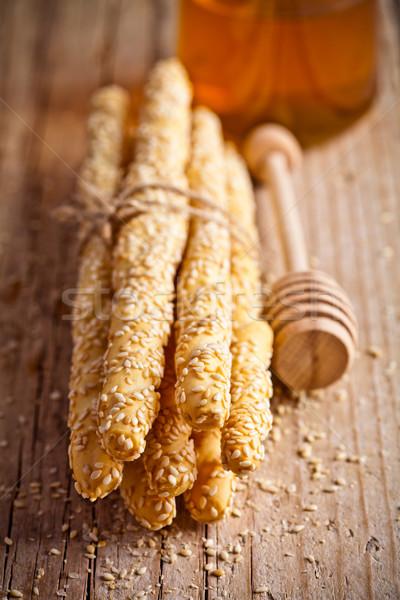 Kenyér szezámmag méz fa deszka étel reggeli Stock fotó © marylooo