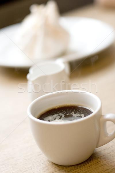 cup of coffee, milk and meringue Stock photo © marylooo