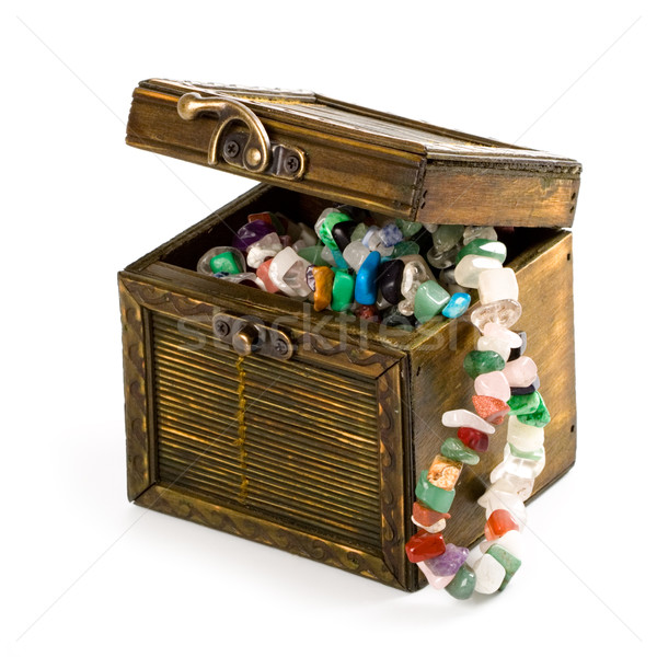 wooden box with fashion beads Stock photo © marylooo