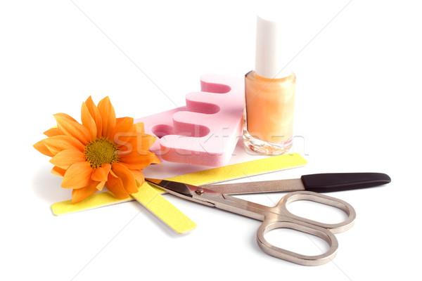 Pédicure beauté fleur mains Photo stock © marylooo