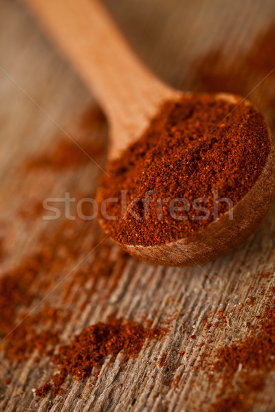 ground red pepper in wooden spoon  Stock photo © marylooo
