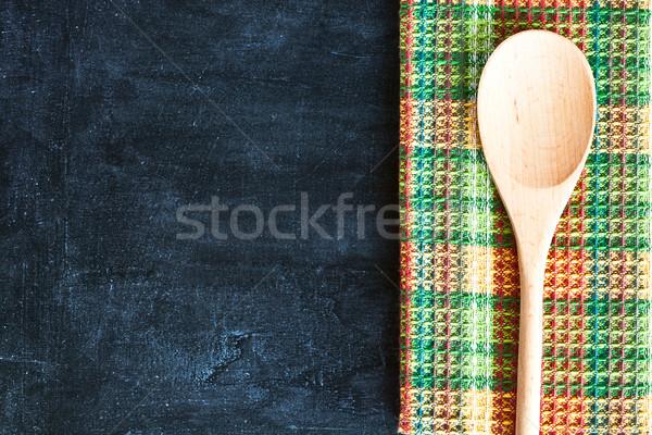 テーブルクロス 黒板 木材 表 緑 ストックフォト © marylooo