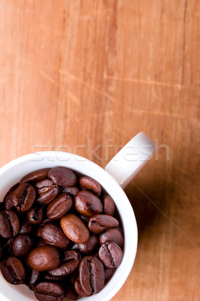 Tasse plein grains de café bois bois fond Photo stock © marylooo