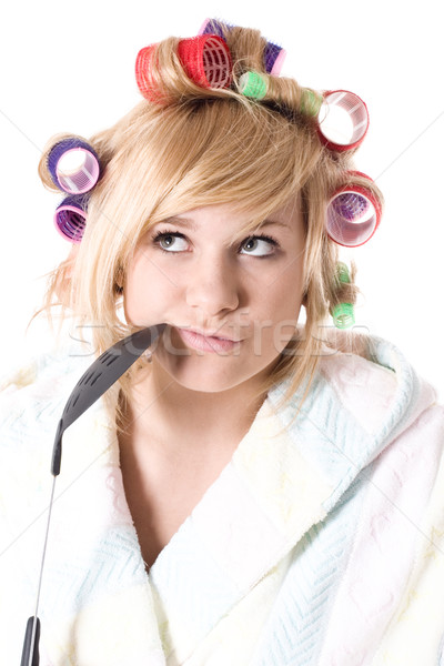 funny housewife with curlers Stock photo © marylooo