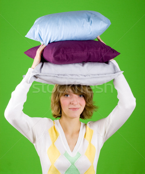 woman with pillows stack Stock photo © marylooo