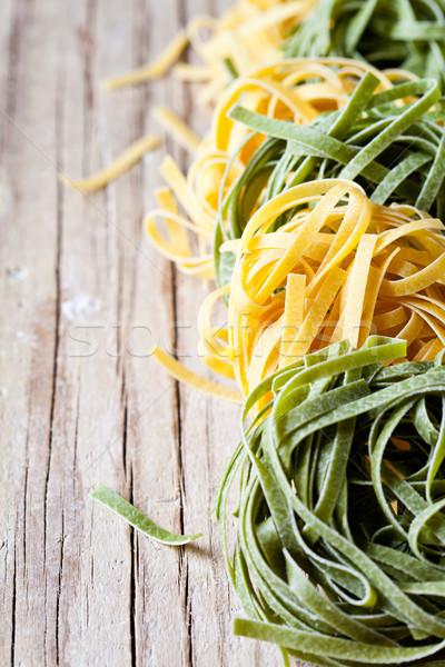 黄色 緑 パスタ タリアテーレ クローズアップ 素朴な ストックフォト © marylooo