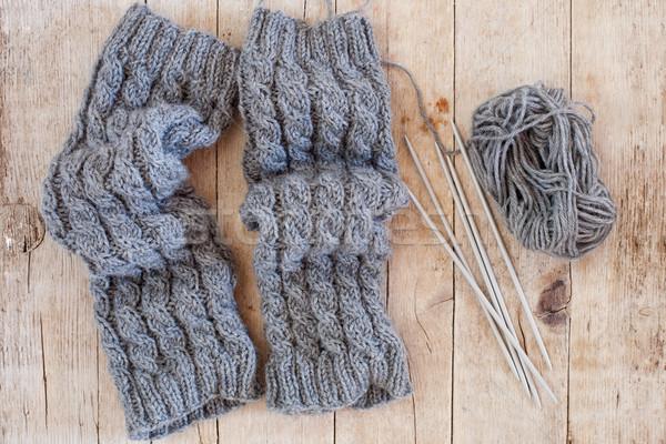 Wol grijs naalden garen houten Stockfoto © marylooo
