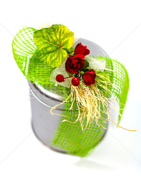 metal gift box with beautiful decoration Stock photo © marylooo