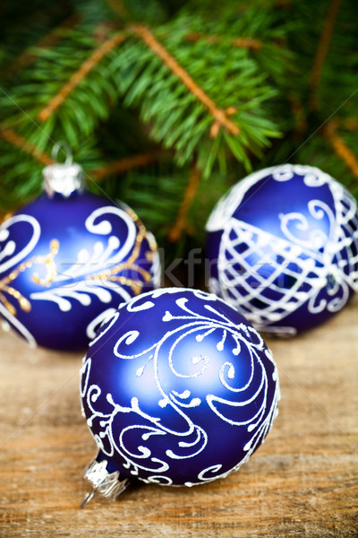 christmas decorations and fir tree Stock photo © marylooo