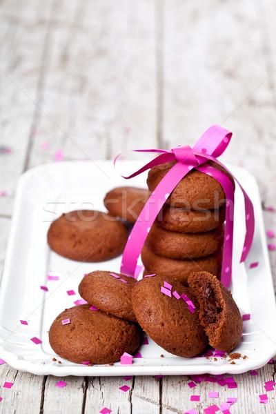 プレート 新鮮な チョコレート クッキー ピンクリボン 紙吹雪 ストックフォト © marylooo